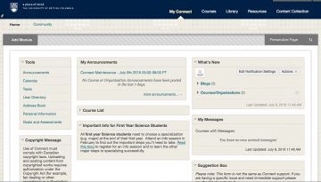 A screenshot from the student view of UBC's LMS Blackboard Connect